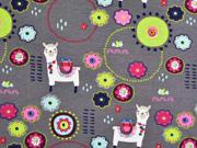 Jersey Lamas bunte Blumen, grau