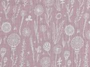 Musselin Double Gauze Blumen, weiß helles altrosa
