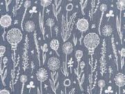 Musselin Stoff Double Gauze Blumen, weiß mittelgrau