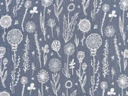 Musselin Double Gauze Blumen, weiß mittelgrau