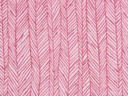 Sweat Frottee Fischgrätmuster elastisch, rosa
