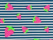 Jersey Streifen Neon Erdbeeren, petrol weiß
