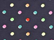 Jersey Punkte Neon, bunt dunkelblau
