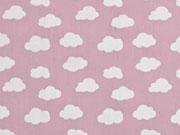 Baumwollstoff Wolken, weiß hellrosa