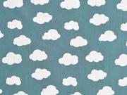 Baumwollstoff Wolken, weiß mattes jadegrün