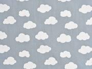 Baumwollstoff Wolken, weiß grau