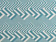 Dekostoff Leinenlook Zickzack grafisches Muster, mint