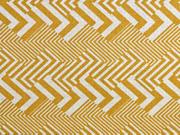 Dekostoff Leinenlook Zickzack grafisches Muster, ocker