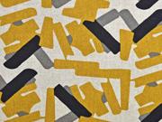 Dekostoff Leinenlook grafische Striche, ocker