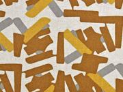 Dekostoff Leinenlook grafische Striche, mittelbraun