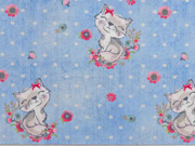 Sweatstoff French Terry Jeanslook Katzen Blumen Punkte, hellblau