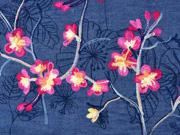 RESTSTÜCK 70 cm Jeansstoff Stickerei Blumenranken pink gelb jeansblau