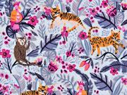 Baumwollstoff Tiger Affen tropische Blätter, orange pink hellblau