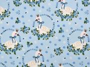 Baumwollstoff Schwäne mit Krone Rosen, hellblau
