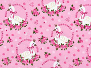 Baumwollstoff Schwäne mit Krone Rosen, rosa