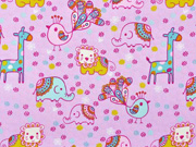 Baumwollstoff Zootiere Mandala Blümchen, rosa