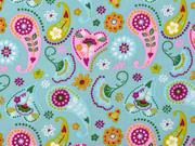 Baumwollstoff Paisley Blumen, rosa ocker mint