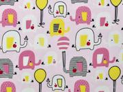 Baumwollstoff Elefanten Luftballons, weiß altrosa hellrosa