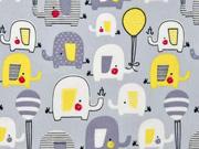Baumwollstoff Elefanten Luftballons, weiß gelb hellgrau