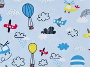 Baumwollstoff Heißluftballons Flugzeuge Wolken, gelb rot hellblau