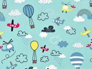 Baumwollstoff Heißluftballons Flugzeuge Wolken, gelb hellblau mint