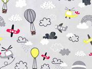 Baumwollstoff Heißluftballons Flugzeuge Wolken, rot gelb hellgrau