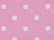 Baumwollstoff Punkte 1 cm, weiß rosa