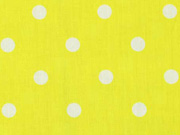 Baumwollstoff weiße Punkte 1cm, zitronengelb