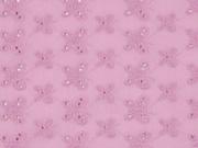 bestickter Baumwollstoff Blumen Schmetterlinge Lochstickerei, rosa