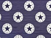 Softshellstoff Streifen Sterne Kreise, dunkelblau