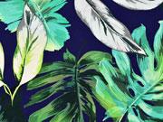 Jersey große tropische Blätter, grün auf dunkelblau