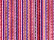 Mexiko Stoff Jacquard schmale Streifen, rosa gelb rot