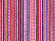 Mexiko Stoff schmale Streifen, rosa gelb rot