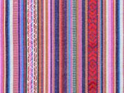 Mexiko Stoff Streifen & Borten, rot blau rosa