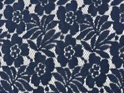 Spitzenstoff Blumen mit Baumwolle, dunkelblau
