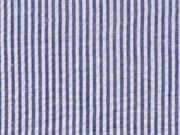 Baumwollstoff Seersucker schmale Streifen, dunkelblau weiß