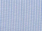 Baumwollstoff Seersucker schmale Streifen, hellblau weiß