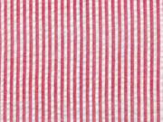 Baumwollstoff Seersucker schmale Streifen, rot weiß