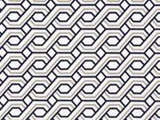 Hosenstretch Stoff Bengalin grafisches Zopfmuster, beige dunkelblau weiß