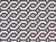 Hosenstretch Stoff Bengalin grafisches Zopfmuster, dunkelblau weiß taupe
