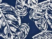 Baumwollstoff Baumwollsatin Blätter elastisch, creme dunkelblau