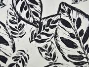 Baumwollstoff Baumwollsatin Blätter elastisch, schwarz weiß
