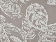 Baumwollstoff Baumwollsatin Blätter elastisch, creme beige