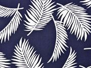Viskose Crepe tropische Blätter, weiß dunkelblau