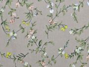 RESTSTÜCK 88 cm Viskose Crepe Blusenstoff  Blumenzweige, weiß khaki beige