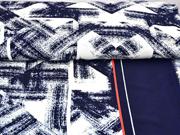 Jersey Stoff Pinselstriche Streifenbordüre, rot dunkelblau weiß
