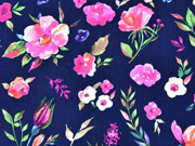 Blusenstoff Blumen, pink dunkelblau