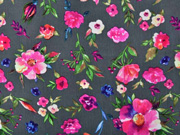 Blusenstoff Blumen, pink taupe