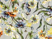 Blusenstoff Wildblumen elastisch, orange gelb beige