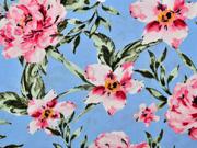 Viskose Stoff große Blumen Blätter, rosa hellblau